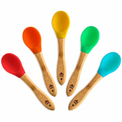 Bamboo Baby Feeding Spoons, Toddler Feeding Set Soft Silicone Tips - BPA Free - By