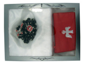 Confirmation Boys Rosary Gift Set with Leather Rosary Case