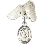 Sterling Silver Baby Badge with St. Rita of Cascia Charm and Baby Boots Pin 2.5cm X 1.6cm