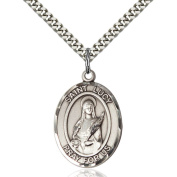 Sterling Silver St. Lucy Pendant 2.5cm x 1.9cm with Heavy Curb Chain