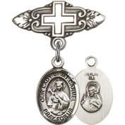 Sterling Silver Baby Badge with Our Lady of Mount Carmel Charm and Badge Pin with Cross 2.5cm X 1.9cm