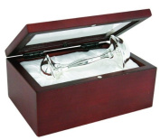 Stephan Baby Satin-Lined Rosewood Keepsake Box with 1.2m Silver Plated Keepsake Rattle