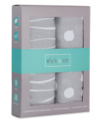 Changing Pad Cover Set | Cradle Sheet 2 Pack 100% Jersey Cotton Grey Abstract Stripes and Dots by Ely's & Co