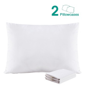 100% Cotton Sateen Toddler Pillowcases Set of 2, Soft and Cosy, 33cm x 46cm , White by NTBAY