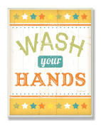 The Kids Room by Stupell Wash Your Hands Yellow Stars Rectangle Wall Plaque