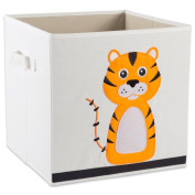 """E-Living Store Collapsible Storage Bin Cube for Bedroom, Nursery, Playroom and More 13x 33cm x 13"""" - Tiger"""