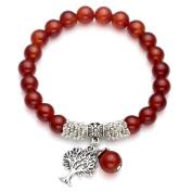 Top Plaza Stretch Red Agate Tree of Life Lucky Stone Bracelet Reiki Healing Crystal Gemstone Dangle Charms Pendant Birthstone Bracelet