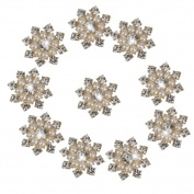 Beautiful Bead 10 pcs Faux Pearl Rhinestone Flatback Buttons Embellishments