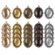 eBoot 25 Pieces Assorted Colours Pendant Trays Oval Bezels and 25 Pieces Glass Cabochon Dome Tiles, Totally 50 Pieces
