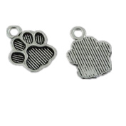 JulieWang 100PCS Antiqued Silver Cat Paw Foot Prints Charms Pendants for Jewellery Making DIY 15x11MM