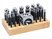 26 Piece Dapping Doming Punch Block Set 2.3 mm to 25 mm Jewellery Making Metal Forming Tool Kit
