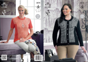King Cole Ladies Double Knitting Pattern Womens DK Ribbed Patterned Jacket & Sweater 3878