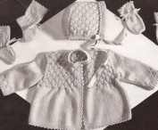 Vintage Knitting PATTERN to make - Sweet Smocked Baby Set Sweater Hat Mittens Smocking Detail. NOT a finished item. This is a pattern and/or instructions to make the item only.