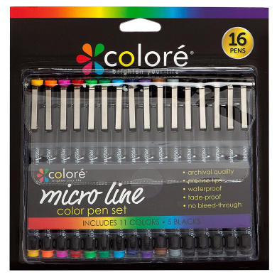 Colore PRECISION Ultra Fine Tip Micro Line Pens – Waterproof & Vibrant Colour Inking Pen Set With Variety Nib Sizes (16 Pack)