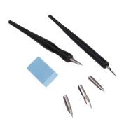 Artist Cartoon Pen Set ,Black Handle Classic Design with Fine Nib , Dip Pen Set