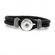 Chunk Bracelets Fits Snaps Chunk Buttons (Black Bracelet)21cm long