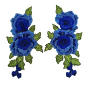 YABINA 2PC 23cm x 13cm 3D Embroidery Rose Flower Iron on Sew on Patches Embroidery Applique Patches for Jeans, Neckline Collar Bust Dress, Clothing, Bags