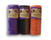 3 Pack Crafter's Corner Decorative Mesh - Black, Purple and Orange with Metallic Strands - 15cm . x 5 yds Each