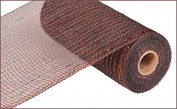 25cm x 9.1m Deco Poly Mesh Ribbon - Metallic Chocolate Brown and Copper : RE1301E2