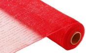 50cm x 9.1m Deco Poly Mesh Ribbon - Metallic Red and Red Foil : RE100124