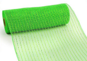 25cm x 10 yards (9.1m) Deco Poly Mesh Ribbon - Lime Green with Lime Foil