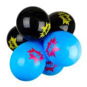 Black Blue Zap Pow Superhero Comic Children's Birthday Party Latex Balloons