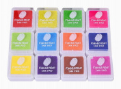 Kingree 12 Colour Finger Ink Pad for kids, Rainbow Colour Stamp Ink Pad for Kids to DIY Scrapbooking Card Making