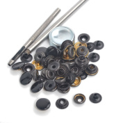 Shinny Black Snap Fasteners Press Studs 12.5mm 15 Sets Sewing Buttons with Die Punch Tools Sets Kit For Clothing , leather craft , jackets , bags