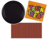 Halloween Trick or Treat Party Tableware Kit Including Plates Napkins & Spritz Striped Tablecover for 26 Guests