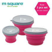 M Square Collapsible Food Grade Silicone Bowls with Lids, BPA-free, Camping, Travelling, Pets, Hiking, Backpacking Bowl