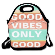 Good Vibes Only Luck Lunch Bag Tote Cooler Bag For Picnic School Travel Lunch Box