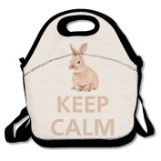 Keep Calm And Love Rabbits Lunch Bag Tote Cooler Bag For Picnic School Travel Lunch Box