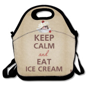 Keep Calm And Eat Ice Cream Sundae Cherry Lunch Bag Tote Cooler Bag For Picnic School Travel Lunch Box