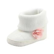 Ec Newborn Baby Warm Shoes Girl Boy Flower Crib Knit Boots Soft Sole Prewalker