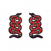 5Pair Small Snake Red Patch Embroidered Patch Iron on Patch Sew on Patch