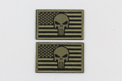 EJG Bundle 2 pieces- Punisher Skull USA Flag Tactical Patch (3 5.1cm ) Military Hook and loop Patch Morale Patch