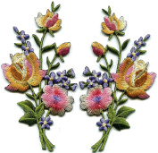 5.7cm x 11cm . Pink gold lavender roses pair flowers floral bouquet embroidered appliques iron-on patche