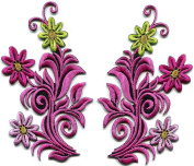 5.7cm x 11cm . Pink flowers pair boho retro 70s design embroidered appliques iron-on patches