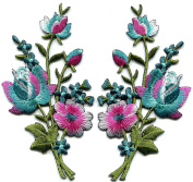 5.7cm x 11cm . Pink blue turquoise silver roses pair flowers floral bouquet embroidered appliques iron-on patche