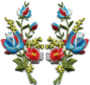 5.7cm x 11cm .Blue red roses pair flowers floral bouquet embroidered appliques iron-on patche