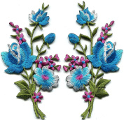 5.7cm x 11cm .Baby blue pink roses pair flowers floral bouquet embroidered appliques iron-on patche