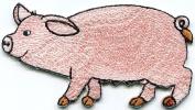 5.7cm x 9.5cm .Pig Sow Hog Swine Boar Livestock Farm Animal Applique Iron-on Patch New