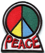 5.7cm x 7cm . Peace Embroidered Appliques Iron on Patches, Hippie
