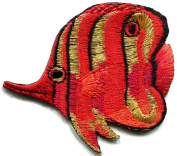 5.7cm x 7cm Angelfish fish red/orange embroidered applique iron-on patch new