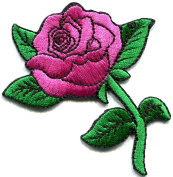 5.5cm x 8.4cm Pink Rose DIY Applique Embroidered Sew Iron on Patch