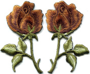 5.4cm x 7.3cm Bronze roses pair flowers embroidered appliques iron-on patches
