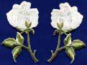 5.4cm x 7.3cm White roses pair flowers embroidered appliques iron-on patches