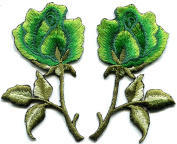 5.4cm x 7.3cm Green roses pair flowers embroidered appliques iron-on patches