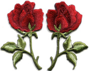5.4cm x 7.3cm Red roses pair flowers embroidered appliques iron-on patches