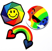 PP patch Set 3 Smiley face rainbow , Happy face rainbow colour , Rainbow heart DIY Applique Embroidery Iron on Patch